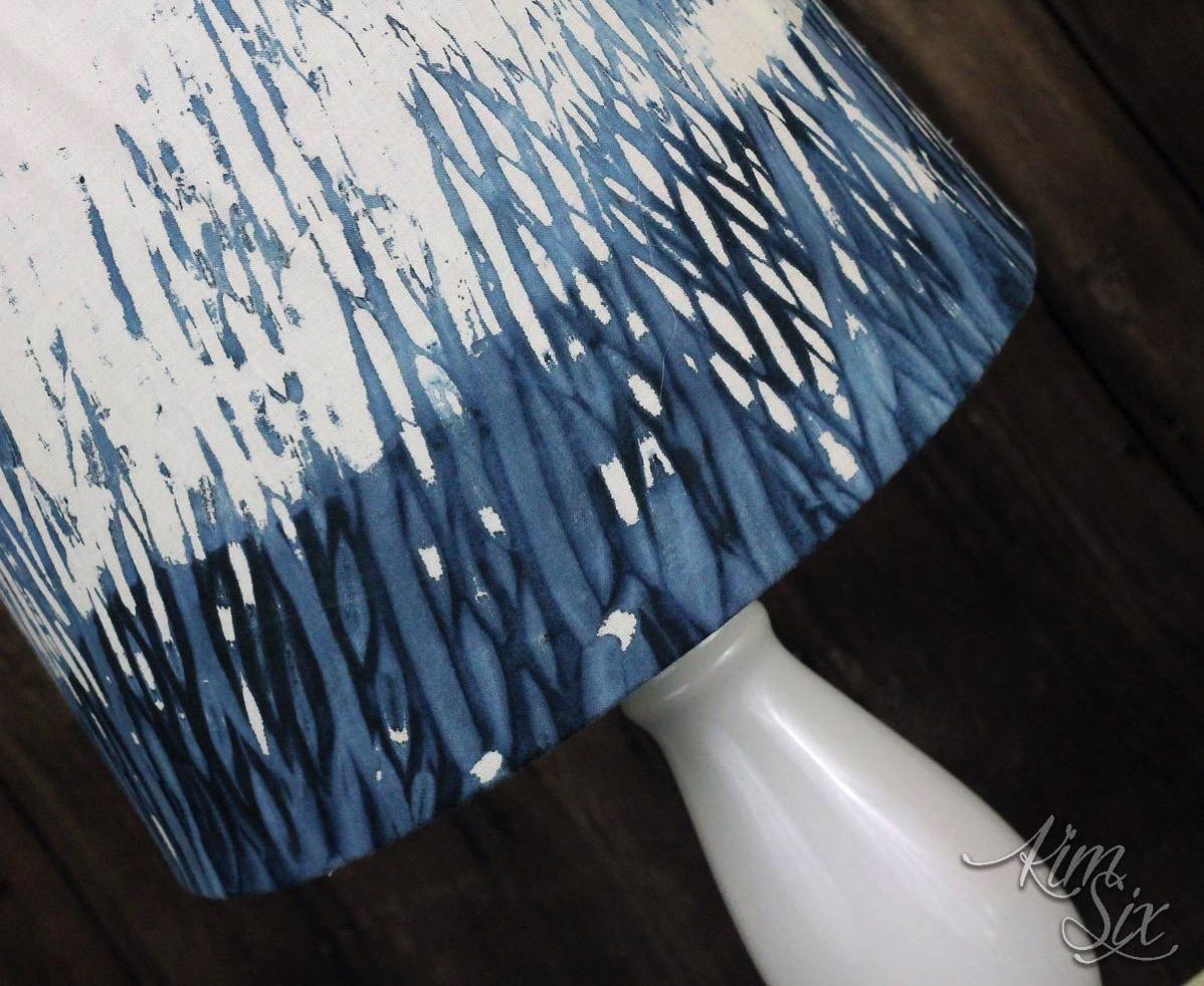 Shibori indigo dyed lampshade