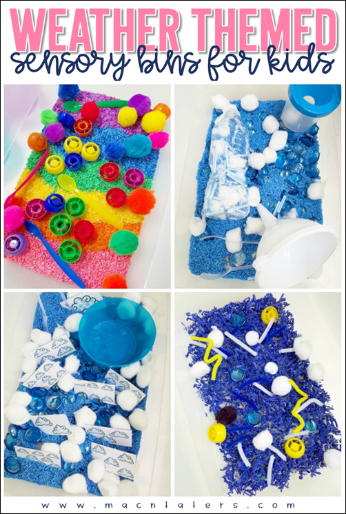 Weather Themed Sensory Bins for Toddlers, Preschoolers and school aged children.
