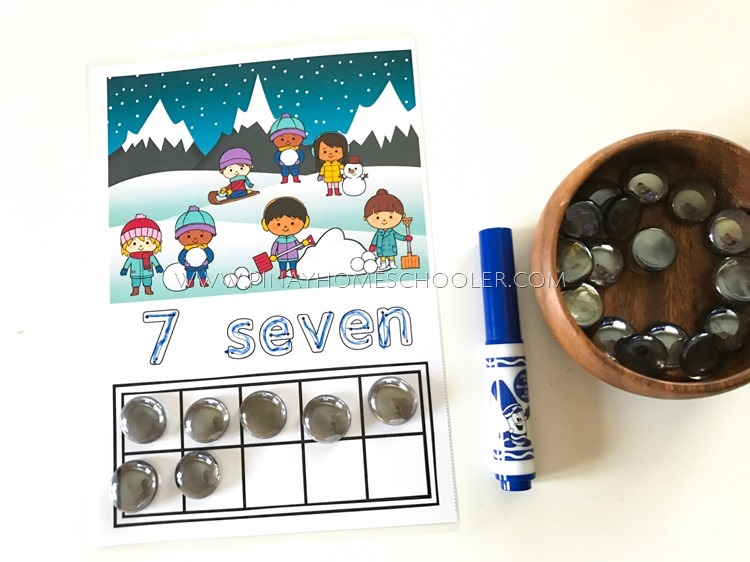 Winter Themed Ten Frames Writing Numbers Activity