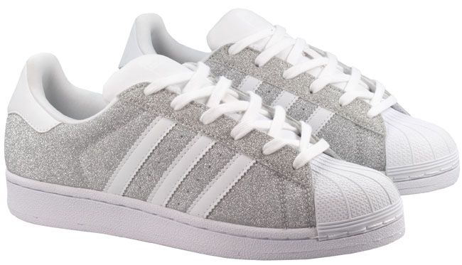 adidas superstar glitter womens textile silver white trainers