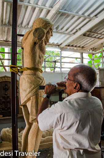 Champakulam Wood Carver making jesus statue from wood