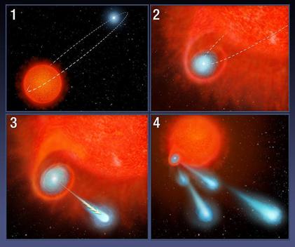 gráfico do sistema binário V Hydrae lançando bolas de plasma para o espaço