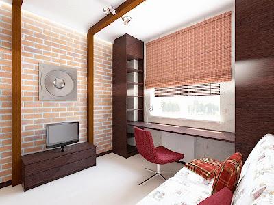 Дизайн интерьера комнаты мальчика-подростка в стиле Лофт, подробнее - http://www.pawelldesign.ru/Home/interior_3D