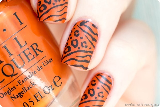 LFB Orange OPI It's a Piazza Cake Tiger Leopard Stamping_-5