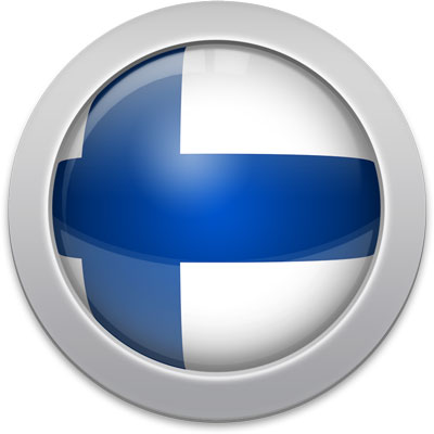 Finnish flag icon with a silver frame