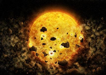 ilustração da destruição de um planeta jovem por sua estrela