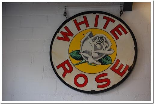 farm white rose sign