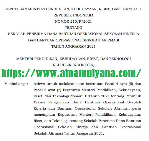 Kepmendikbudristek Nomor 210/P/2021 Tentang Daftar Nama Sekolah Penerima BOS Kinerja Dan BOS Afirmasi  Tahun 2021