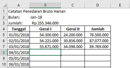 contoh template Excel untuk mencatat peredaran bruto bulanan