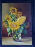 słoneczniki, olej, płótno, 50x70 cm