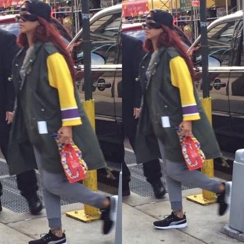 Rihanna in Phenomenon Hockey Sleeve M-51 Parka Shell Coat and Bazar-14