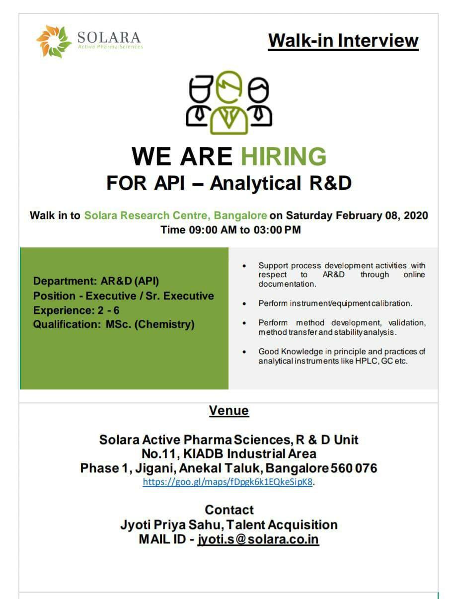 Solara Active Pharma - Walk-In Interviews on 8th Feb' 2020 @ Bangalore