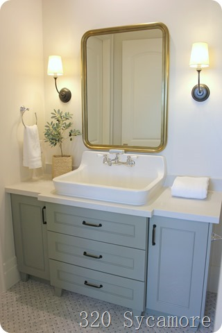 bathroom cabinet in farrow and ball shaded white