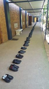 WHAT NORMAL SCHOOL LEAVERS DO Instead of the ripping of shirts that Zambian G12 pupils do here, in S.A. it is a different story. Pupils left these shoes so that they can be donated to the less privileged pupils. Our pupils must learn this culture.