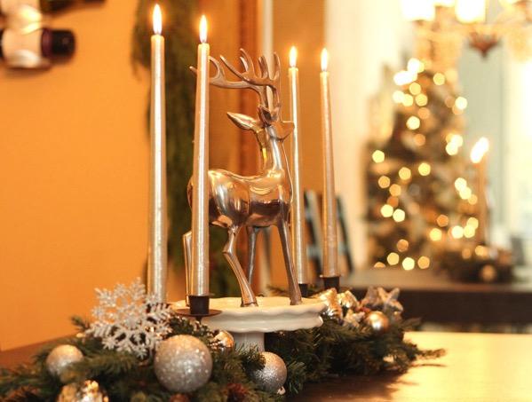 Silver Reindeer Centerpiece