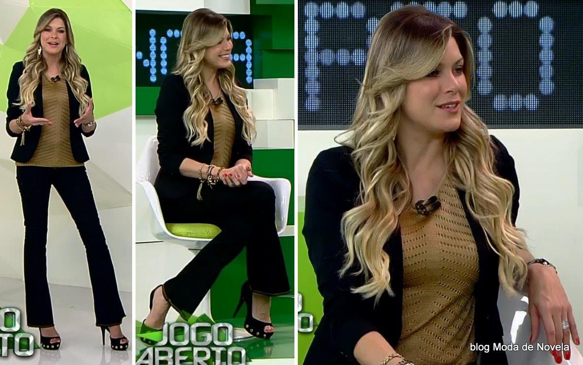 moda do programa Jogo Aberto - look da Renata Fan dia 25 de julho