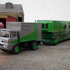 The Motor Panels steel cab of the late 1960s/early 1970s was used by many different truck manufacturers and could be seen on the fairs in decent numbers in the 1980s but very few now survive. This is the Seddon version as modelled by Road Transport Images and fitted to a Base Toys chassis shortened from a six-wheeler as all Seddons with this cab had four wheels. It is supposedly a 32:Four (32-ton) artic unit rebuilt as a box tractor and pulling a very large and heavy whitemetal Langley living wagon.