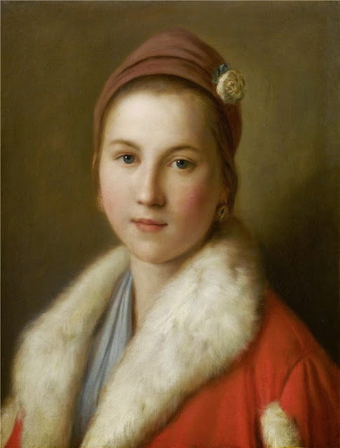 Pietro Antonio Rotari - Junge Frau in einem roten, pelzverbrämten Mantel