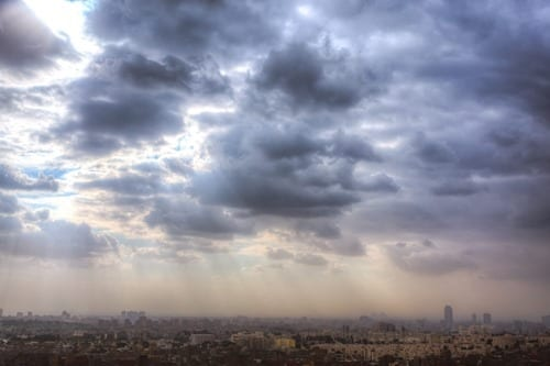View of Pyramids across Cairo