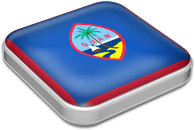 Flag of Guam with metallic square frame