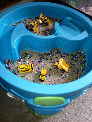 when he was napping i cleaned and brought in our water table by the way this water table was free our neighbor was throwing it out and
