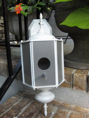 Bird house from old lamp