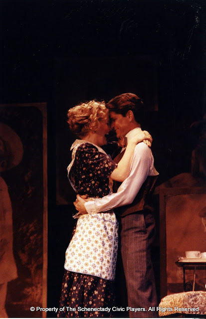 Cynde Schwartz and Rocky Bonsal in LOOK HOMEWARD, ANGEL (R) - March 1994.  Property of The Schenectady Civic Players Theater Archive.