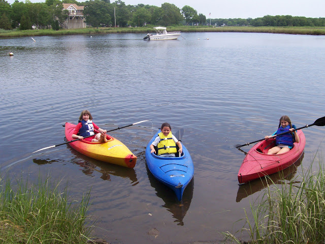 Danielle, Audrey and Emma kayaking