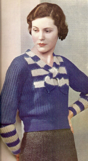 The Vintage Pattern Files: Free 1930's Knitting Pattern The Charm of Blue & Grey