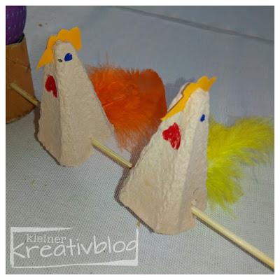 http://www.kleiner-kreativblog.de Tischdeko Hühner