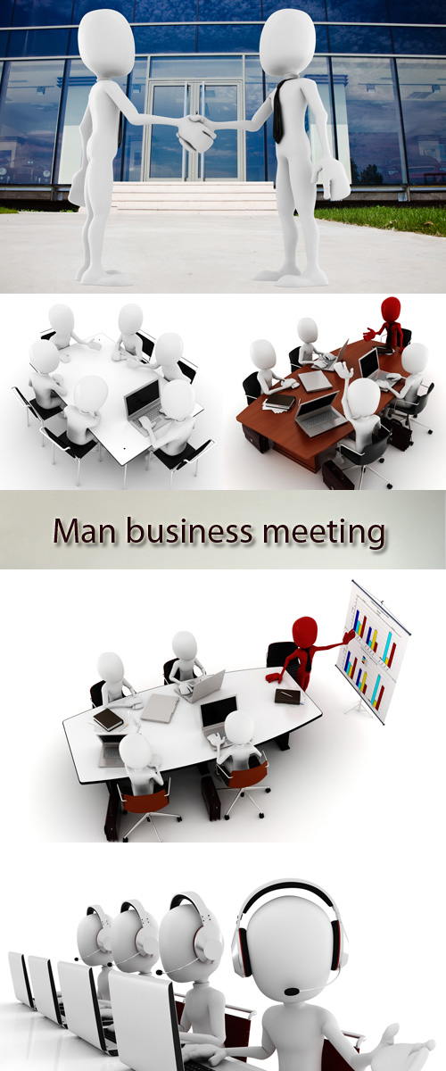 Stock Photo: 3D man business meeting