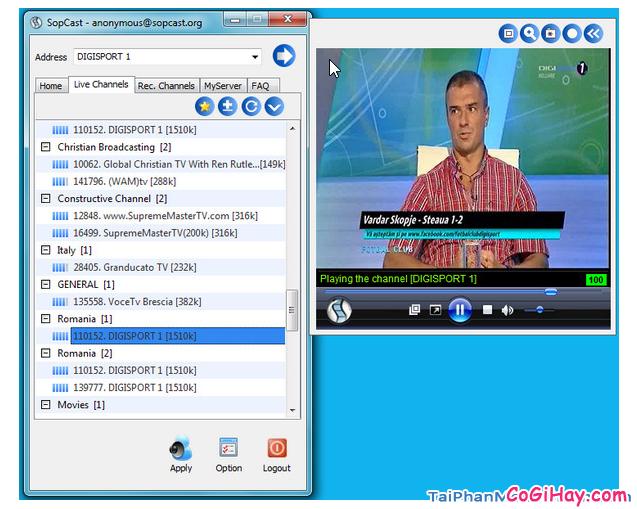 Giao diện chương trình xem bóng đá trực tuyến Sopcast