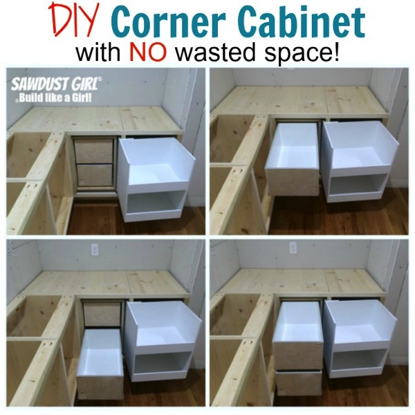 Diy corner cabinet with no wasted space