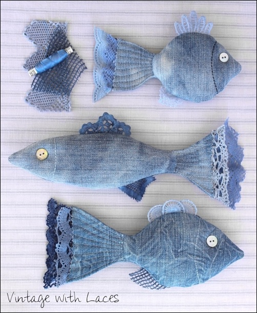 Upcycled Denim Fish by Vintage with Laces