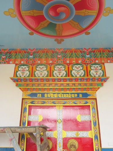 Detail of painting in new gompa, Rachen Nunnery, Tsum, Nepal, September 2012. Photo courtesy of Kopan Monastery.
