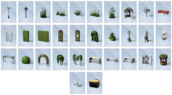 De Sims 4 Romantische Tuinaccessoires nieuwe voorwerpen