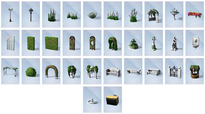 De Sims 4 Romantische Tuinaccessoires bouwen overzicht