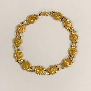 14K Gold Saint Medallion Bracelet