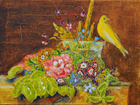 still life bouquet of flowers playful bird