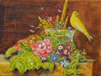 still life bouquet of flowers playful bird