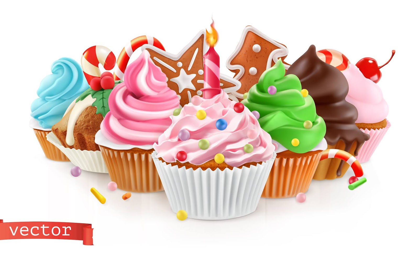 Holiday Sweet Dessert Cake Cupcake Illustration Free Download Vector CDR, AI, EPS and PNG Formats