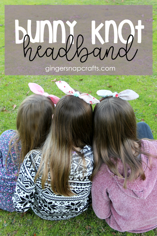 bunny knot headband at GingerSnapCrafts.com #sewing #cricut #cricutmade #cricutmaker