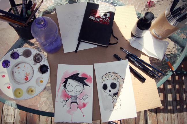 akumu ink art, emo artwork, goth watercolor, nightmare art, artist alley sketch, skull artwork, skeleton artist