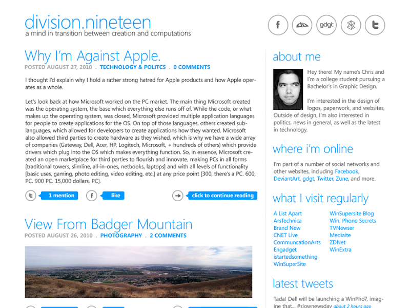 Chris Lindhartsen Blog Concept