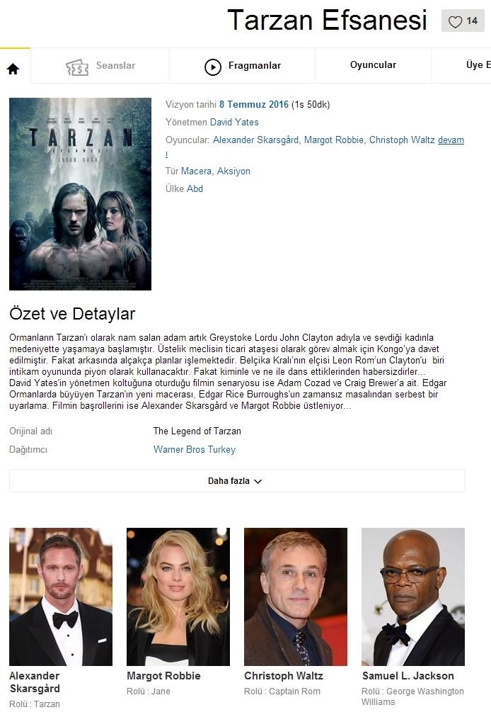 Tarzan Efsanesi - 2016 480p BDRip x264 - Türkçe Dublaj Tek Link indir