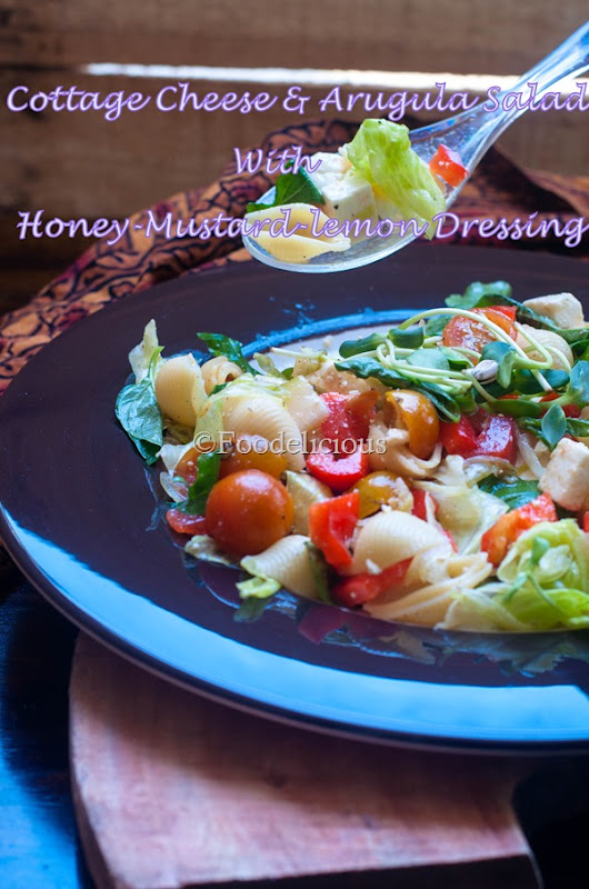 Cottage Cheese & Arugula Salad With Lemon-Honey-Mustard Dressing