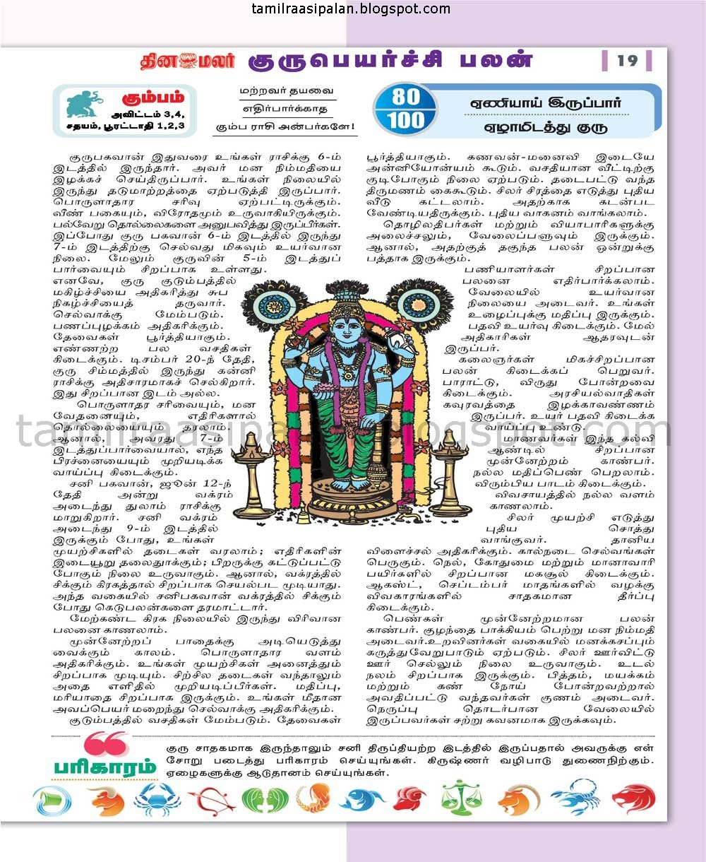 2015-2016 Guru Peyarchi Palan and Pariharam from Dinamalar Aanmegamalar