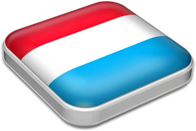 Flag of Luxembourg with metallic square frame