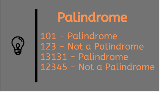 Palindrome: Java program to check number is palindrome or not? Example