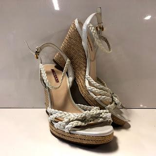 Prada Braided Raffia Wedge Sandals